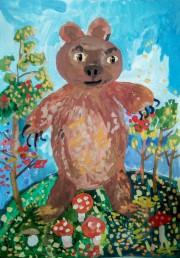 """""""Наша планета"""" Егор Ч. 7 лет «Медведь гуляет по просторам», бумага, гуашь"""