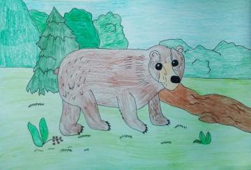 """Мультстудия """"Звёздочка""""  Дарья И. 9 лет """"Хозяин леса"""", бумага, цветные карандаши"""
