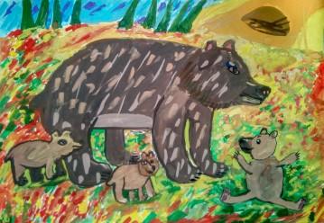 """""""Наша планета"""" Дмитрий Е. 10 лет «Ох, уж эти озорные медвежата», бумага, гуашь"""
