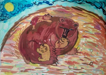 """""""Наша планета"""" Лиза К. 10 лет «Медвежьи сны», бумага, гуашь"""